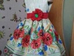 Платья детские и взрослые, маки, лён-рогожка
